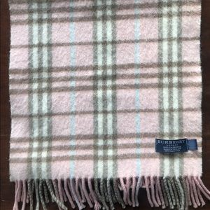 Authentic Burberry Pink Plaid 100% Cashmere Scarf